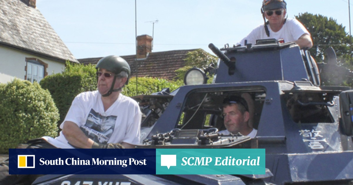 Hong Kong's Saracen armoured police cars on patrol in small-town