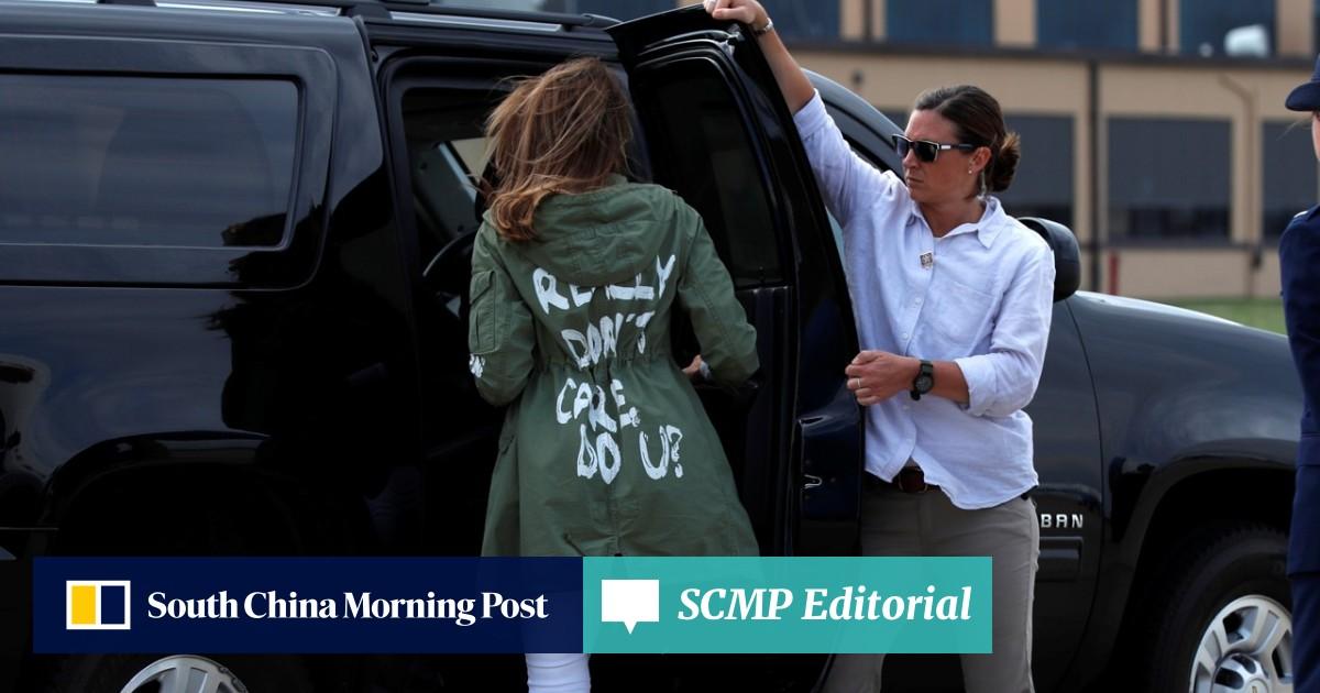 I really don't care': Melania Trump's jacket stuns on
