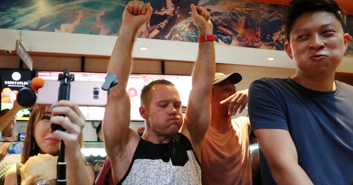 New Zealander wins giant burrito eating battle in Hong Kong