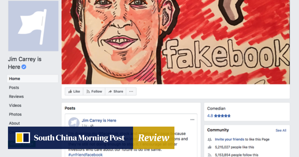 696c02157 Actor Jim Carrey says he's deleting his Facebook page and dumping ...