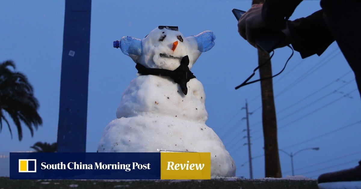 Against the odds: snowmen in Las Vegas as city sees rare