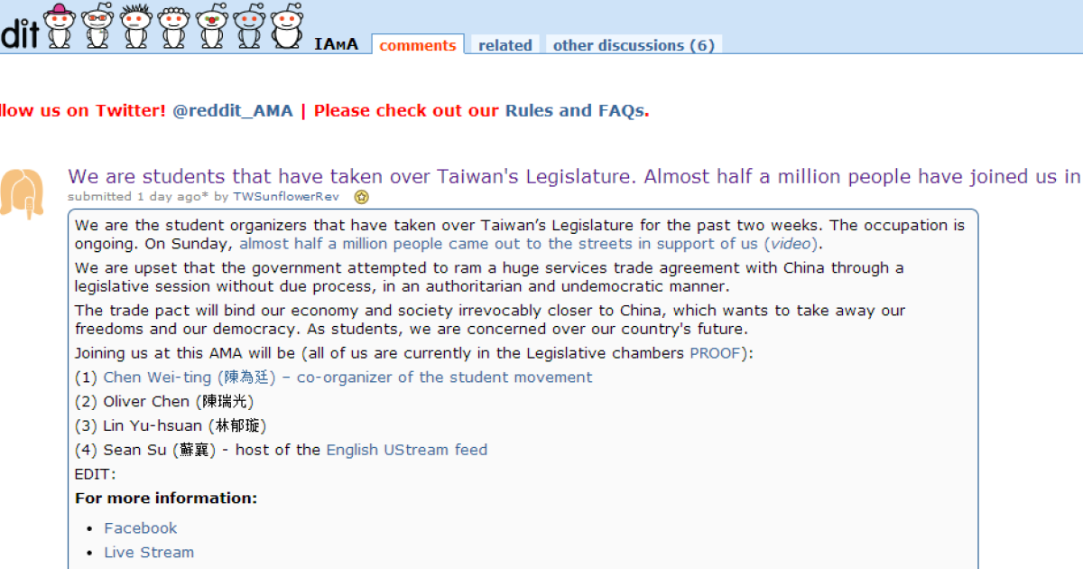 Taiwanese protesters use Reddit to promote awareness of