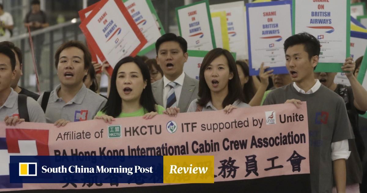 Sacked British Airways staff protest at Hong Kong